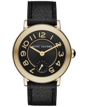 riley black leather strap watch