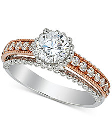 Diamond Two-Tone Engagement Ring (1-1/5 ct. t.w.) in 14k White and Rose Gold