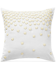 "CLOSEOUT! bluebellgray Juliette Embroidered Floral 16"" Square Decorative Pillow"