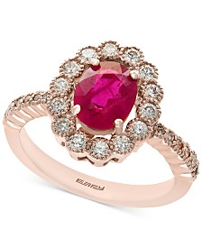 Amoré by EFFY® Certified Ruby (1-3/8 ct. t.w.) and Diamond (5/8 ct. t.w.) Statement Ring in 14k Rose Gold, Created for Macy's