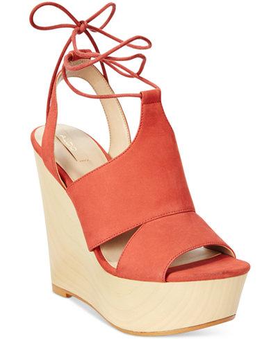 ALDO Women's Gwyni Platform Wedge Tie-Up Sandals