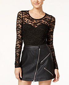 Material Girl Juniors' Illusion Lace Bodysuit, Created for Macy's