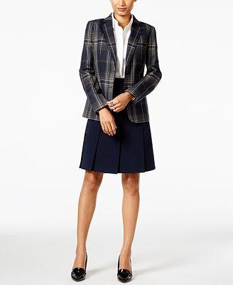 Tommy Hilfiger Plaid Jacket, Woven Shirt & A-Line Skirt