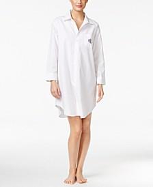 로렌 랄프로렌 슬립 셔츠 Lauren Ralph Lauren Roll-Cuff Sleepshirt Nightgown,White