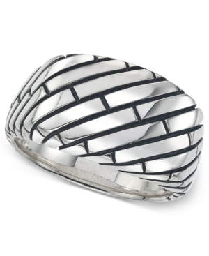 Esquire Men's Jewelry Patterned Ring in Sterling Silver, Created for Macy's