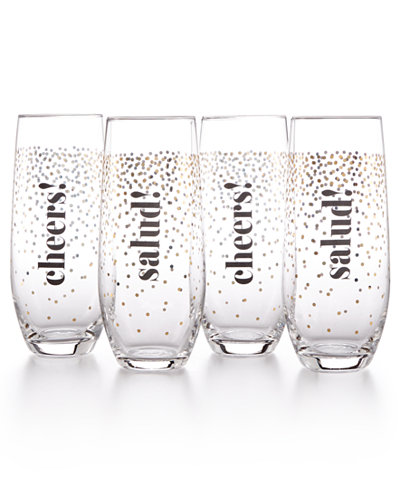 Home Design Studio 4-Pc. Stemless Flute Set, Only at