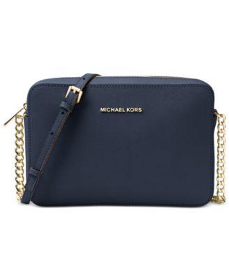 Michael Kors Jet Set East West Crossgrain Leather Crossbody - Handbags    Accessories - Macy s 59ff6ce0bf