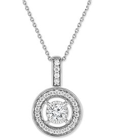 TruMiracle® Diamond Halo Pendant Necklace (1/2 ct. t.w.) in 14k White Gold