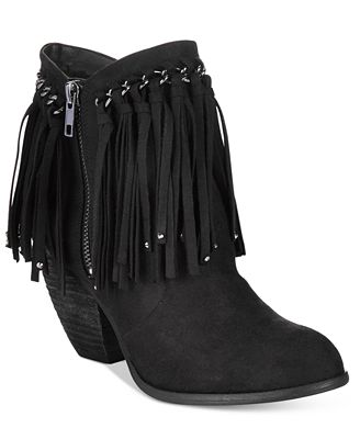 Not Rated Aadila Block Heel Fringe Ankle Booties - Boots - Shoes ...