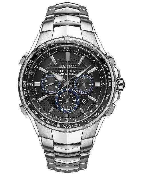 Seiko Men's Solar Chronograph Coutura Stainless Steel Bracelet Watch 45mm SSG009
