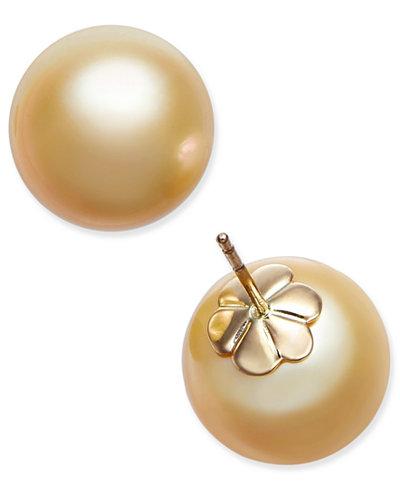 Cultured Golden South Sea Pearl (13mm) Stud Earrings in 14k Gold