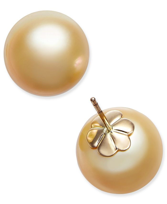 Macy's - Cultured Golden South Sea Pearl (13mm) Stud Earrings in 14k Gold