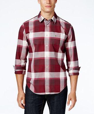 Lacoste Men's Long-Sleeve Bold Plaid Shirt - Casual Button-Down ...