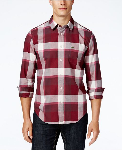 be35c85c3de0 Lacoste Men s Long-Sleeve Bold Plaid Shirt   Reviews - Casual ...