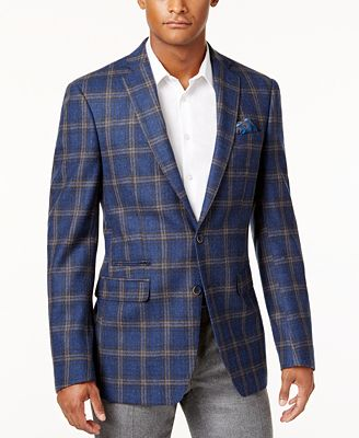 Tallia Men's Light Blue Plaid Sport Coat - Blazers & Sport Coats ...