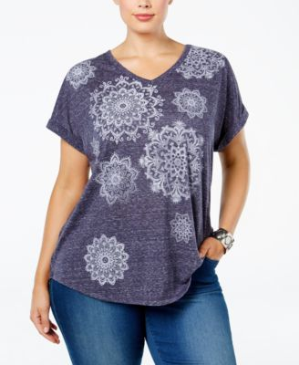Style & Co Plus Size Medallion-Print T-Shirt, Only at Macy's