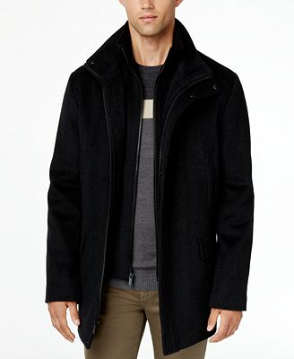 Calvin Klein Men's Wool Blend Herringbone Car Coat - Coats