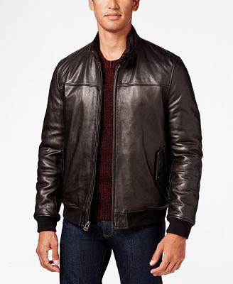 Cole Haan Men's Leather Bomber Jacket - Coats & Jackets - Men - Macy's