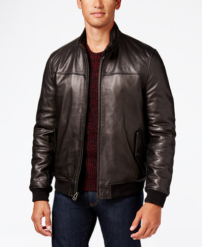 Cole Haan Men's Leather Bomber Jacket - Coats & Jackets - Men - Macy's