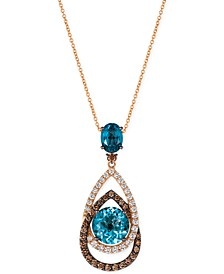 Chocolatier London Blue Topaz (5-1/2 ct. t.w.) and Diamond (1-1/10 ct. t.w.) Interlocking Teardrop Pendant Necklace in 14k Rose Gold, Created for Macy's