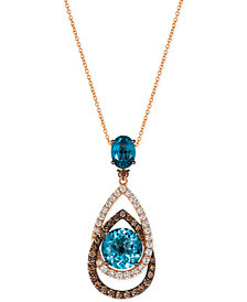 Le Vian® Chocolatier London Blue Topaz (5-1/2 ct. t.w.) and Diamond (1-1/10 ct. t.w.) Interlocking Teardrop Pendant Necklace in 14k Rose Gold, Created for Macy's