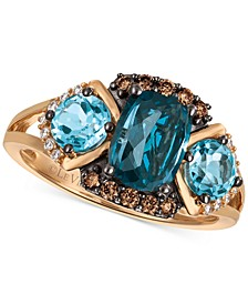 Chocolatier Blue Topaz (2-5/8 ct. t.w.) and Diamond (1/5 ct. t.w.) Ring in 14k Rose Gold, Created for Macy's