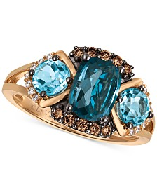 Le Vian® Chocolatier Blue Topaz (2-5/8 ct. t.w.) and Diamond (1/5 ct. t.w.) Ring in 14k Rose Gold, Created for Macy's