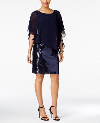 MSK Sequined Chiffon-Overlay Dress - Dresses - Women - Macy's