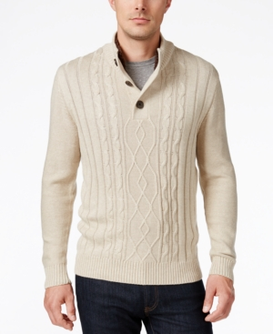 Men's Vintage Style Sweaters – 1920s to 1960s Tricots St. Raphael Mens Faux Sherpa Trim Cable-Knit Mock Neck Sweater $9.86 AT vintagedancer.com