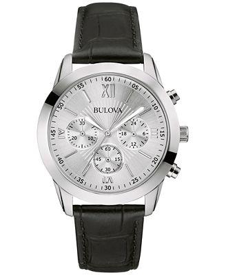 Bulova Men's Chronograph Black Leather Strap Watch 40mm 96A162