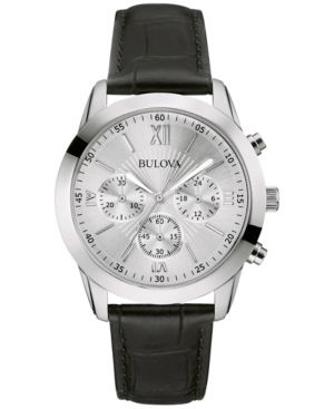 Bulova Men's Chronograph Black Leather Strap Watch 40mm 96A162
