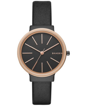 Skagen Women's Ancher Black Leather Strap Watch 30mm SKW2480
