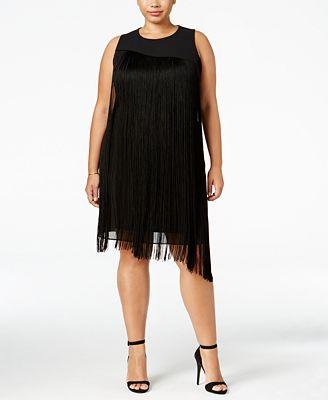 rachel rachel roy curvy trendy plus size fringe dress - dresses
