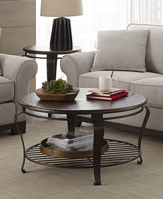 clark copper oval coffee table - furniture - macy's