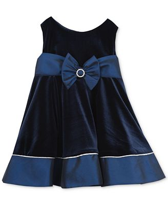 Rare Editions Baby Girls Navy Velvet Party Dress