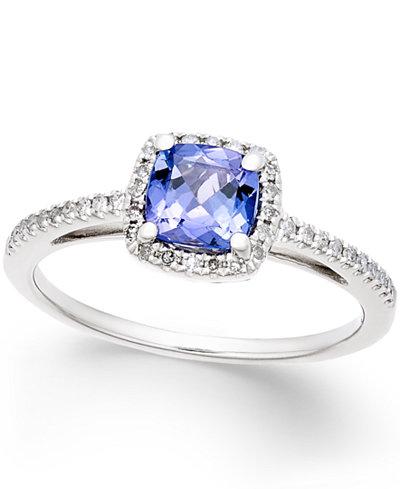 Tanzanite (5/8 ct. t.w.) and Diamond (1/8 ct. t.w.) Ring in 14k White Gold