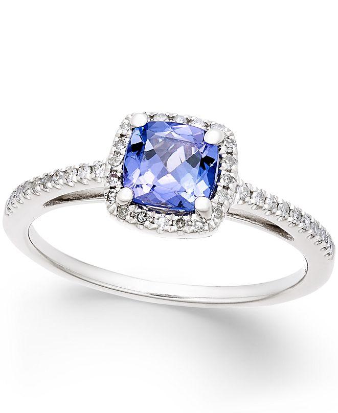 Macy's Tanzanite (5/8 ct. t.w.) and Diamond (1/8 ct. t.w.) Ring in 14k White Gold