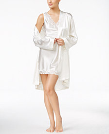 Thalia Sodi Wrap Robe and Lace-Trimmed V-Back Chemise Separates, Created for Macy's