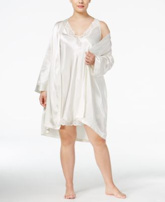 Plus Size Satin Wrap Robe, Created for Macy's