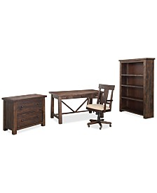 Ember Home Office Furniture, 4-Pc. Set (Desk, Lateral File Cabinet, Desk Chair & Bookcase)