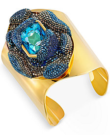 Swarovski Gold-Tone Large Blue Crystal and Pavé Open Cuff Bracelet