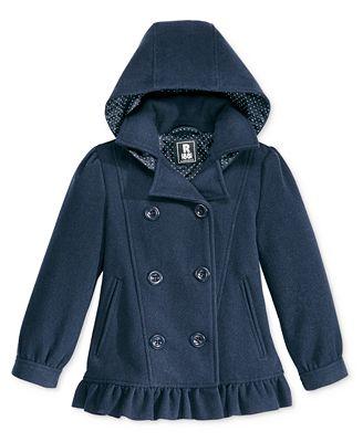 S. Rothschild Hooded Ruffle Peacoat, Little Girls (2-6X) & Toddler Girls (2T-5T)