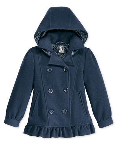 S. Rothschild Hooded Ruffle Peacoat, Little Girls (2-6X) & Toddler Girls (2T-5T)