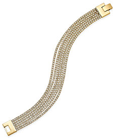 Charter Club Rose Gold-Tone Pavé Mesh Link Bracelet, Created for Macy's