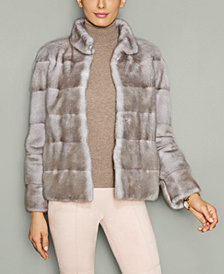 The Fur Vault Mink Fur Stand-Collar Jacket