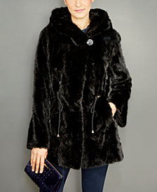 The Fur Vault Mink Fur Hooded Drawstring Jacket