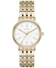DKNY Women's Minetta Gold-Tone Stainless Steel Bracelet Watch 36mm, Created for Macy's