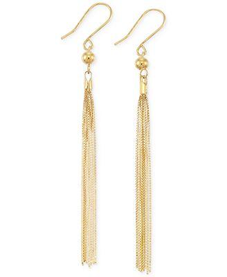 Italian Gold Tassel Drop Earrings in 14k Gold Earrings Jewelry