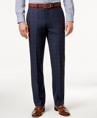 Ryan Seacrest Distinction Men's Modern Fit Blue Flannel Glen Plaid Suit Pants, Only at Macy's