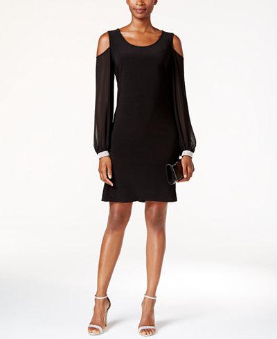 Msk embellished cold shoulder cocktail dress dresses for Macy black dress wear to wedding